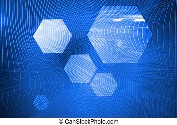 光沢がある, 六角形, 上に, 青い背景
