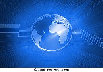 光沢がある, 地球, 上に, 青い背景