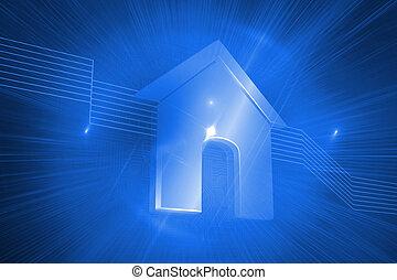 光沢がある, 家, 上に, 青い背景