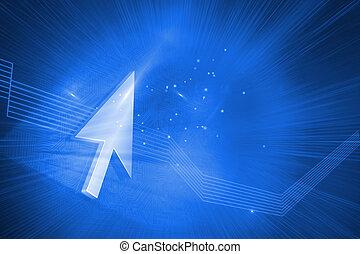 光沢がある, 矢, 上に, 青い背景