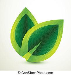 光沢がある, 葉, ベクトル, 緑
