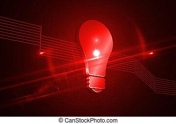 光沢がある, 赤灯, 電球, 上に, 黒い背景