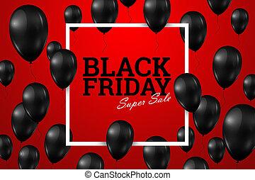 光沢がある, 赤, 風船, 広場, セール, 黒, ポスター, バックグラウンド。, 金曜日, フレーム