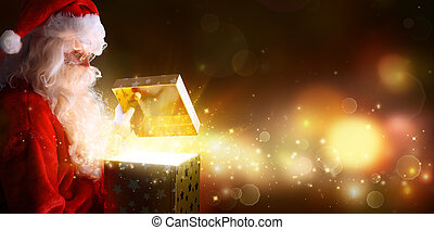 光沢がある, 開始, ライト, santa, クリスマス, claus, プレゼント