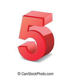 光沢がある, 5, 数, 赤, 3d