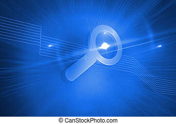 光沢がある, magnifier, 上に, 青い背景