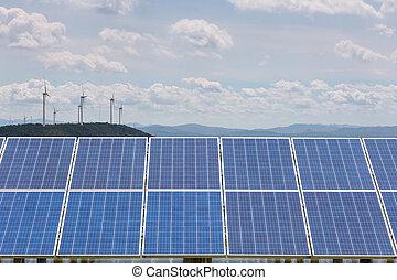 光电的面板, 带, 风发电厂