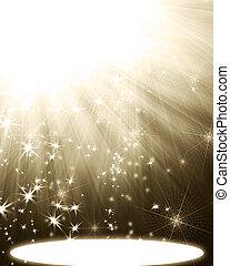 光線, スポットライト, 星