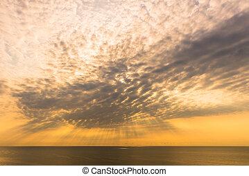 光線, ライト, 空, 下方に, 海, 雲, 照ること