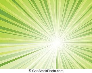 光線, 抽象的, ベクトル, 緑の背景, 横