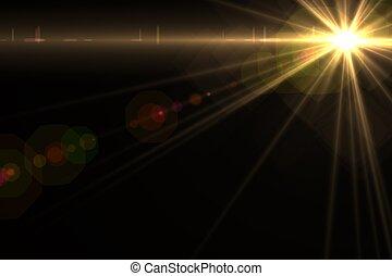 光線, 星, flare., レンズ, 背景, 太陽