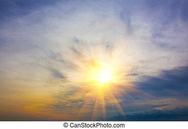 光線, ......的, the, 放置太陽, 透過, 云霧