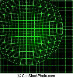 光線, 緑, モザイク, 3d