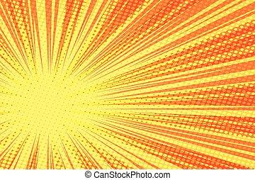 光線, 黄色, ベクトル, レトロ, 背景, 赤