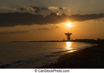 光線, antenna., 空間, 太陽, 明亮, 傍晚, 背景