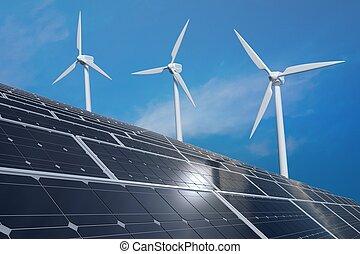 光起電, エネルギー, turbines., 太陽, 選択肢, パネル, 風