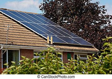 光起電, パネル, 太陽, スレートの屋根