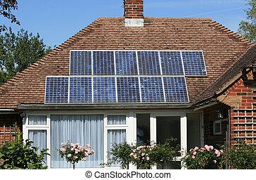 光起電, パネル, 太陽, 屋根