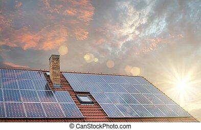 光起電, 屋根, 太陽, パネル, ∥あるいは∥, sunset.