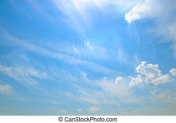 光, 云霧, 在, the, 藍色的天空