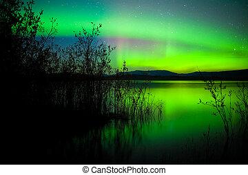 光, 北方, 湖, 反映