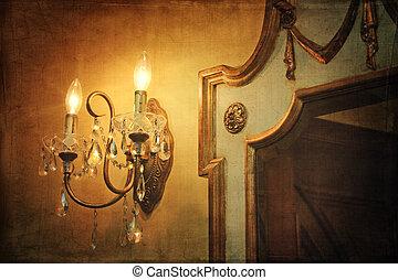 光, 墙壁, 葡萄收获期, sconce, 背景, 镜子