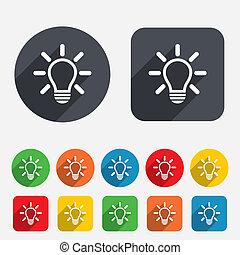 光, 想法, 签署, 灯, icon., 符号。