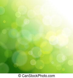 光, 摘要, 绿色, 背景。