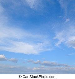 光, 積雲雲彩, 在, the, 藍色的天空