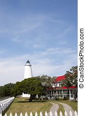 光, 站, 同时,, keepers, 房子, 在上, ocracoke, 岛, 外部的银行, 北卡罗来纳