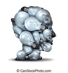 光, 頭, 燈泡