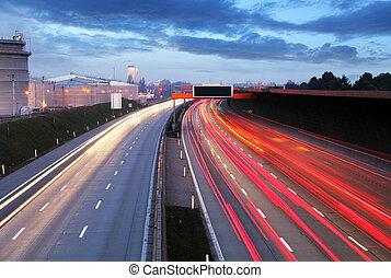 光, -, motorwa, 戲劇性, 交通, 日落, 時間, 形跡, 速度