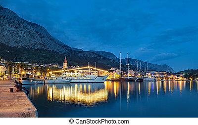 克羅地亞, 夏天, 胜地, 夜晚, makarska, 鎮, 里維埃拉, 看法