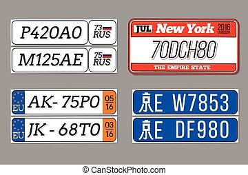 免許証, アメリカ, 自動車, set., 組合, 数, ベクトル, プレート, 陶磁器, ロシア, ヨーロッパ