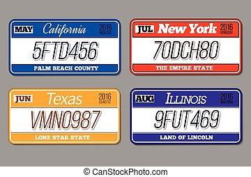 免許証, 自動車, set., 数, イリノイ, ベクトル, プレート, ニューヨーク, テキサス, カリフォルニア