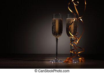 党, 香槟酒玻璃杯, 新年