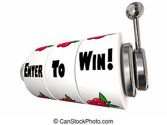 入りなさい, 勝つため, 大きい, コンテスト, jackpot, スロットマシン, 車輪, 3d, イラスト