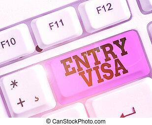 入りなさい, national., メモ, showcasing, ない, visa., 執筆, 写真, 記入項目, 国, 許可, あなた, 提示, ビジネス