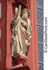 入り口, アンドリュー, bavaria, wurzburg, 使徒, 像, 聖者, marienkapelle, ドイツ