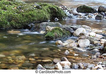 入り江, 山, 現場, 春, 自然