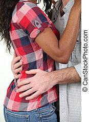 入り混ざったカップル, レース, 抱き合う