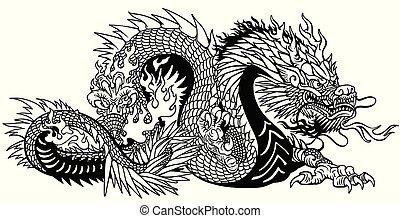 入れ墨, アジア人, ドラゴン
