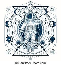 入れ墨, スケッチ, スペース, 段階, 月, ベクトル, 宇宙飛行士訴訟