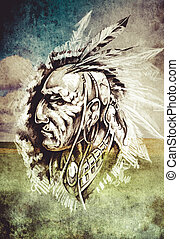 入れ墨, スケッチ, 上に, 頭,  indian, 背景,  cropfield, 芸術