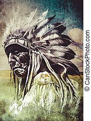 入れ墨, スケッチ, 上に, 頭,  indian, 芸術的, 背景, 芸術