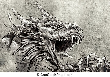 入れ墨, スケッチ, 中世, ドラゴン, 怒り, 芸術
