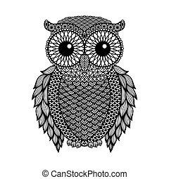 入れ墨, スケッチ, 引かれる, 型, owl., 隔離された, イラスト, 手, 定型, バックグラウンド。, ベクトル, デザイン, mehandi., zentangle, 黒, 白, ∥あるいは∥
