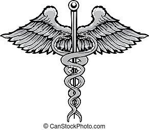 入れ墨, スタイル, シンボル, イラスト, ベクトル, caduceus, 治癒