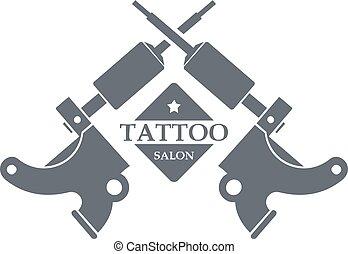 入れ墨, スタイル, 灰色, 単純な機械, ロゴ