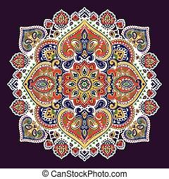 入れ墨, スタイル, mandala, タオル, 型, henna, indian, ボヘミアン, print.